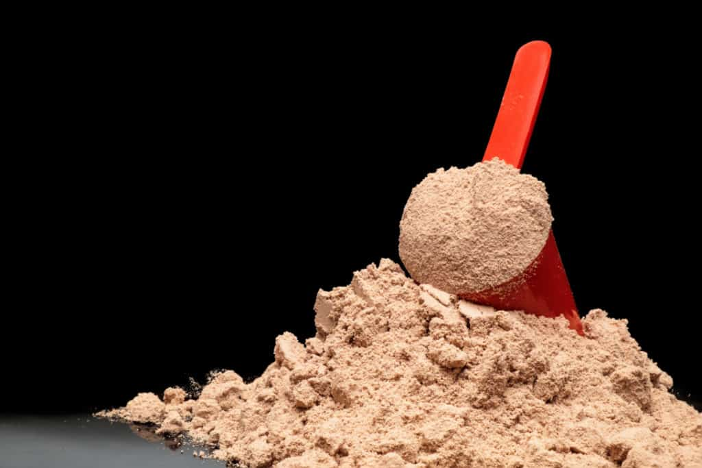 Close-up Whey Protein Powder in measuring scoop. <a href=