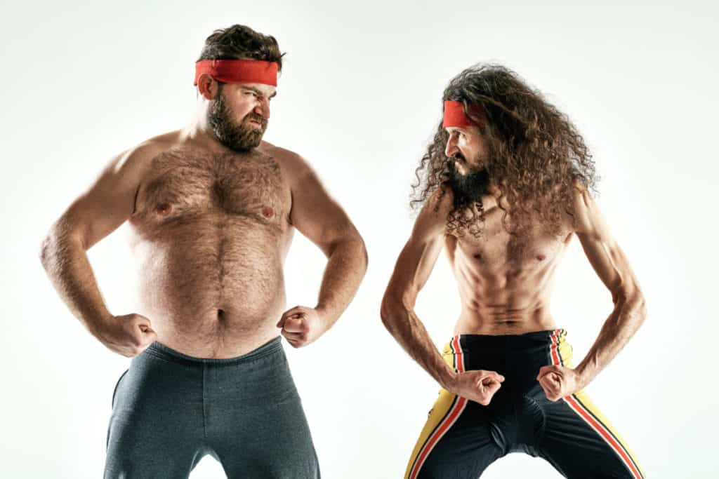 A picture of two similar looking men, proposing the question, can you lose weight and build muscle at the same time?
