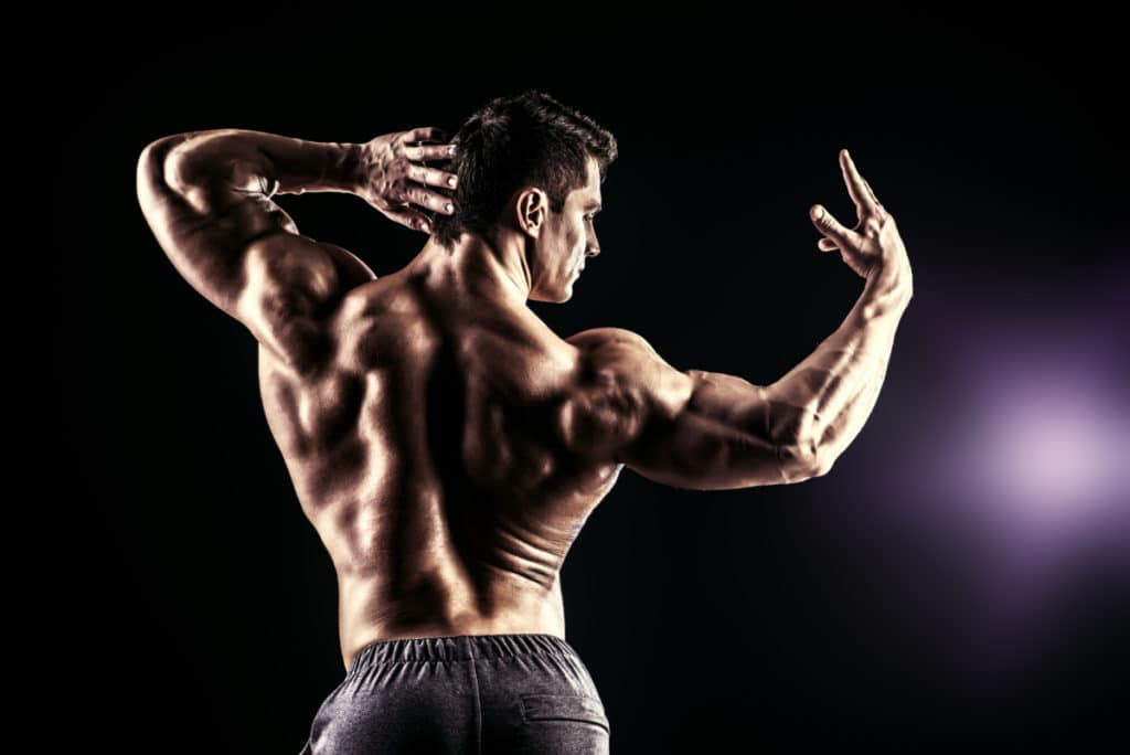 Beautiful muscular man bodybuilder  WITH DEFINED MUSCLES FROM USING TRENOROLposing back over dark background.