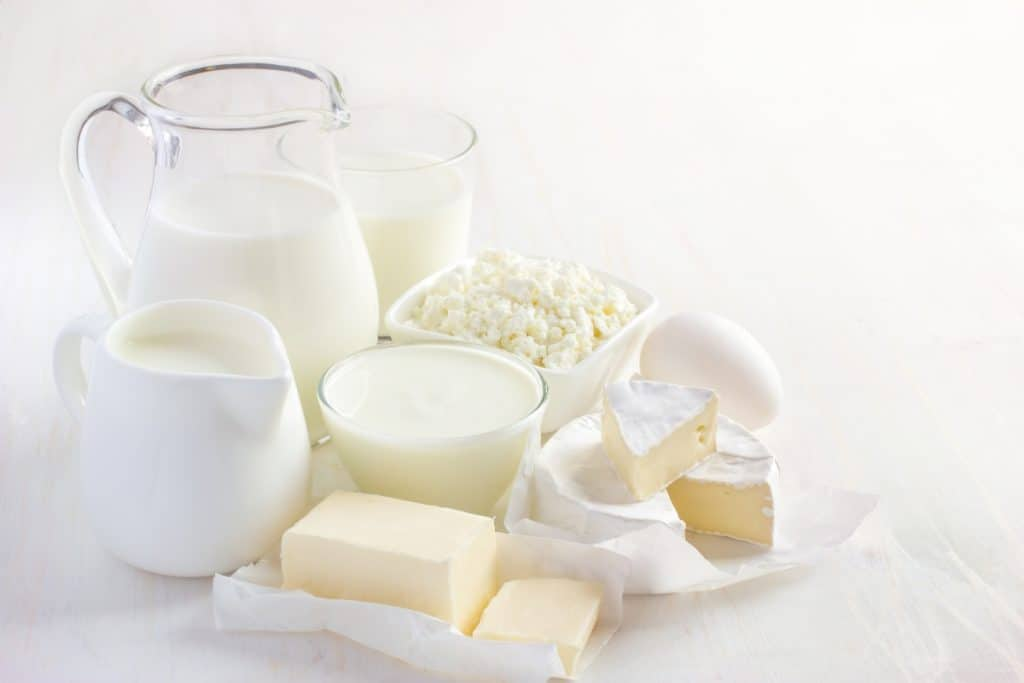 picture of milk, cream, butter and eggs on a white background