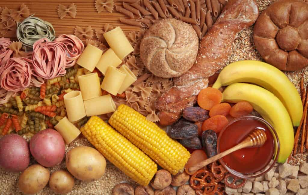 an assortment of food containing carbohydrates