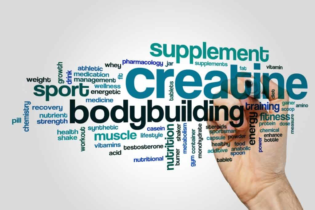 digital sign with the words bodybuilding, creatine, bulking, stacks, supplements, and muscle written on it.