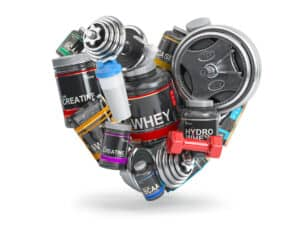 a cutting stack of different supplements put into a shape of a heart.