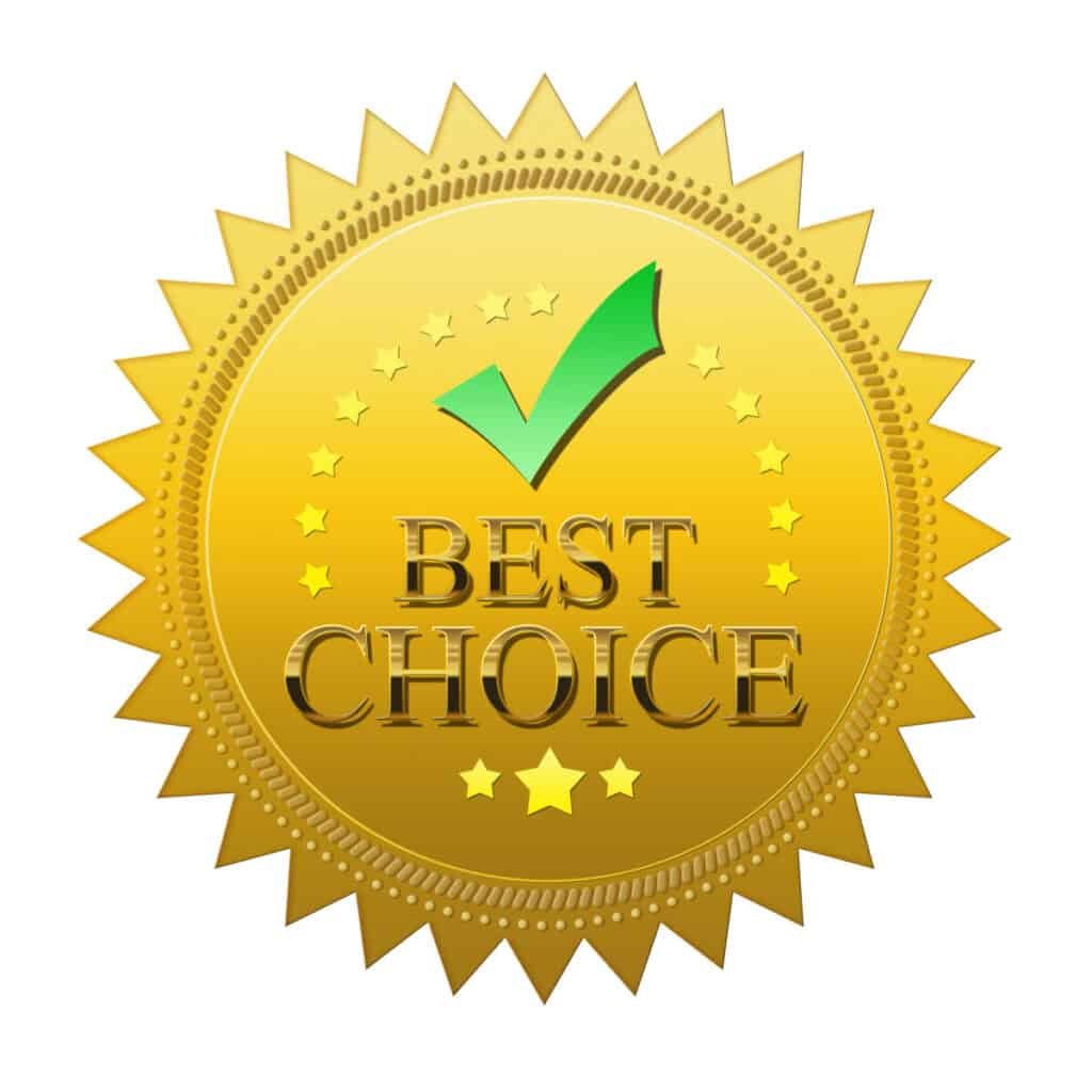 gold seal award that has gold stars and a green check mark with words best choice written on it