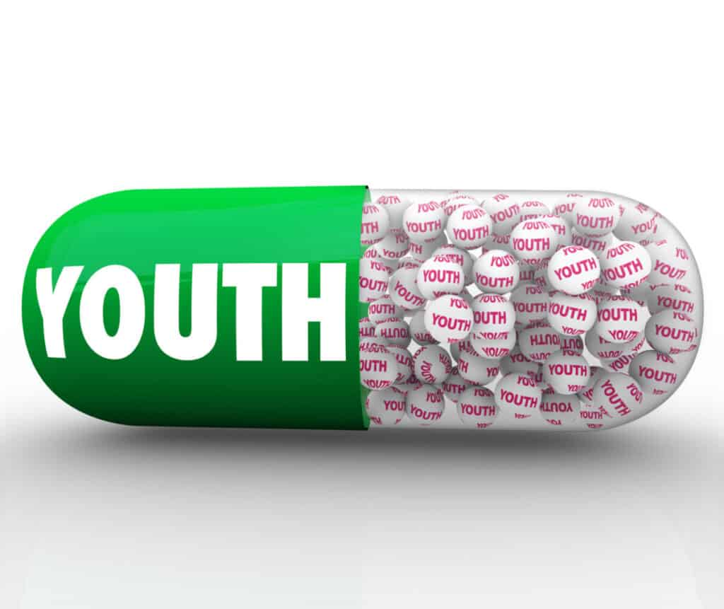 picture of a capsule with the left side colored green with the words Youth written on them and the right side has GENFX granules that have the word HGH on them