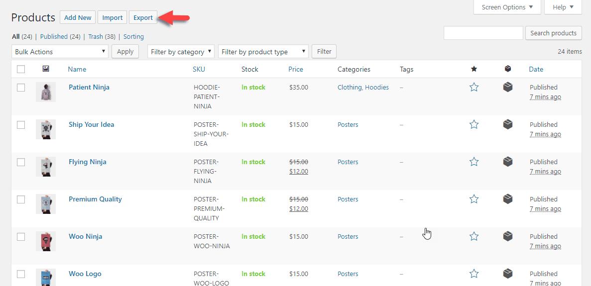 Page Produits de l'importateur