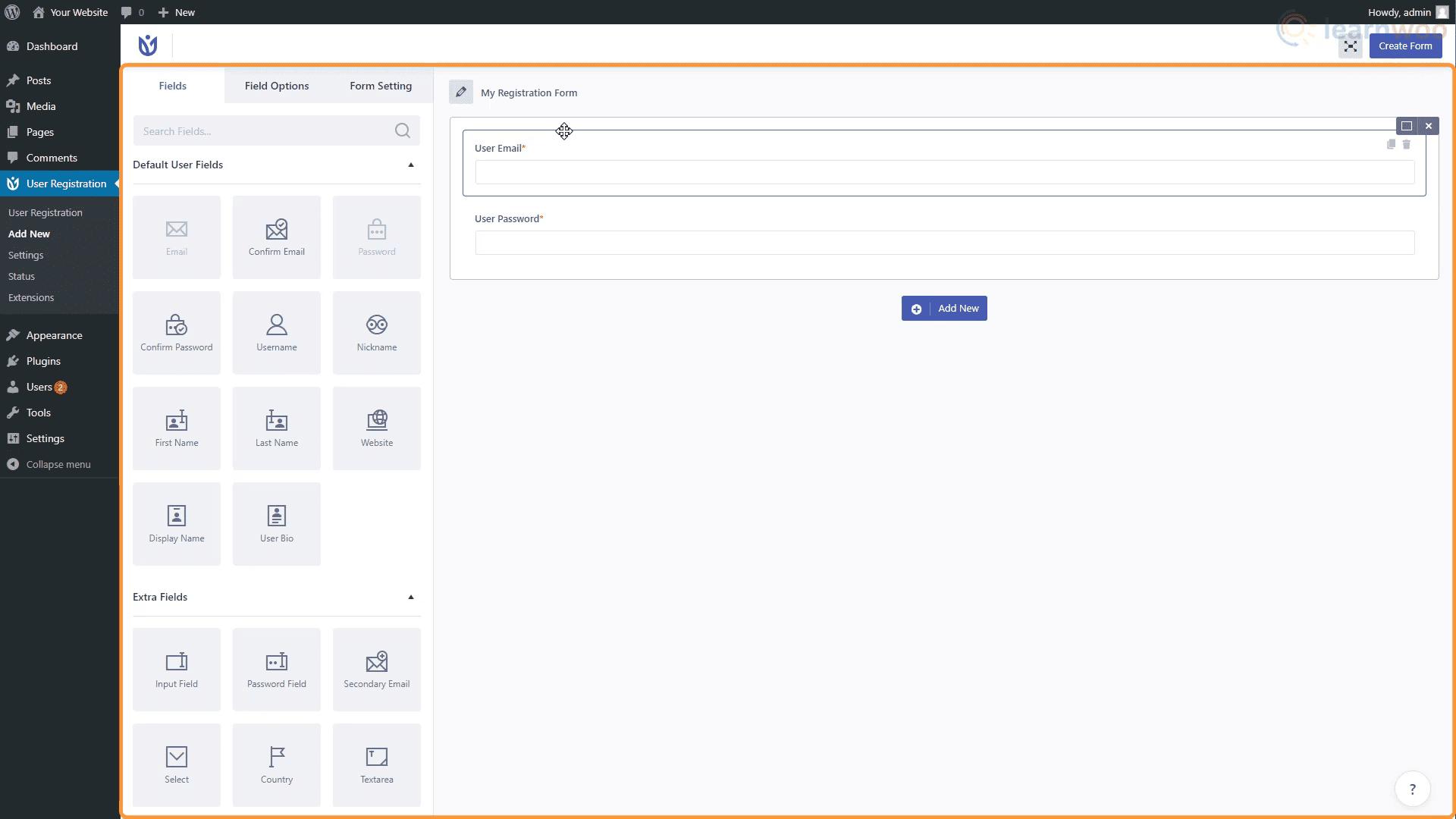 Plug-in d'enregistrement des utilisateurs