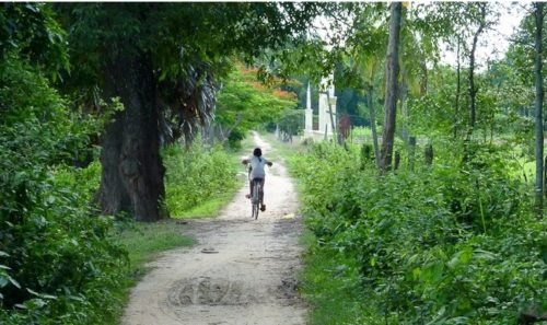 Cycling child in Cambodia