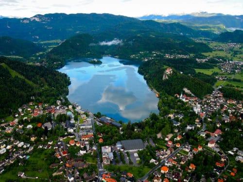 Hot air balloon view, Lake Bled