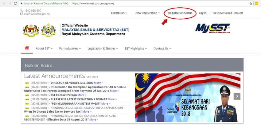 Malaysia SST Registration Status - Step 1