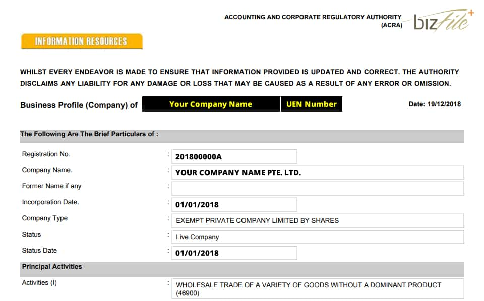 Company Registration Singapore Downloadable PDF File