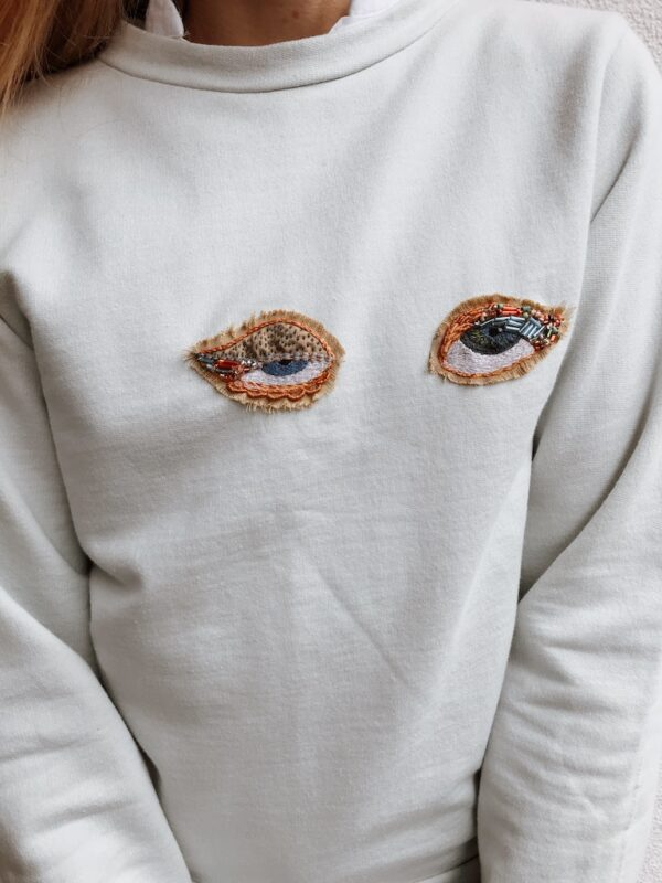 Sweater Hand Embroidery - Organic - Light Blue - Front