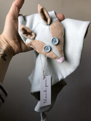 Organic Fox Scarf Kids Pale Blue Eyes