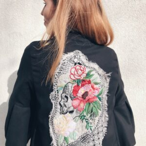 Wrap Coat - Organic Cotton - Embroidered Skull - Detail