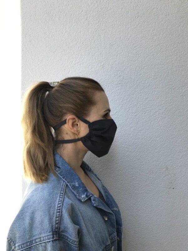 Cloth face mask - black - women - left side