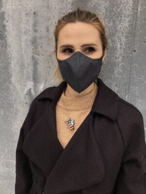 Organic cotton face mask with ties - Black - Women