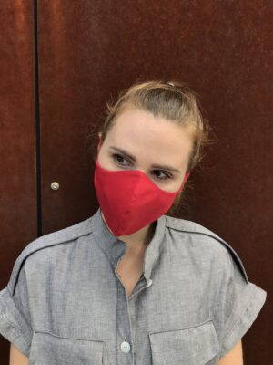 Red face mask with ties - organic cotton - front
