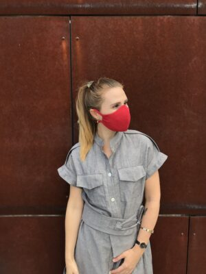 Red face mask with ties - organic cotton - right