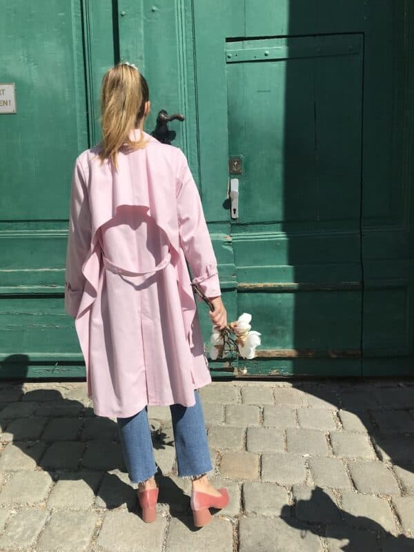 Women's Trench Coat - Organic Cotton - Pink - Back