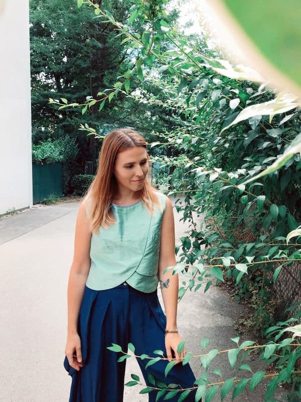 Green Crop Top - Shantung Silk - Mood