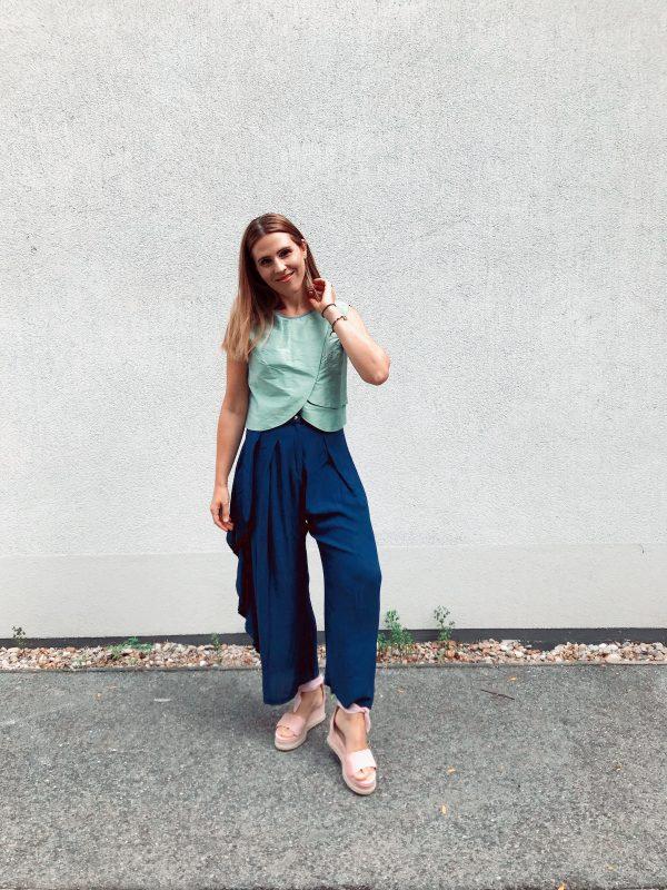 Green Crop Top - Shantung Silk - with Blue Pants