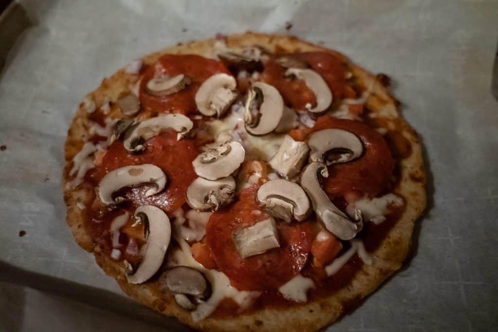 Almond Flour Pizza somewhat in the dark