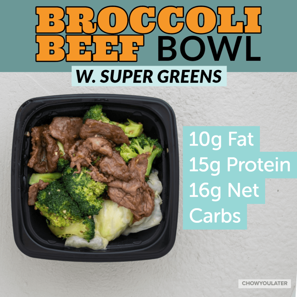 keto broccoli beef bowl with super greens on white background