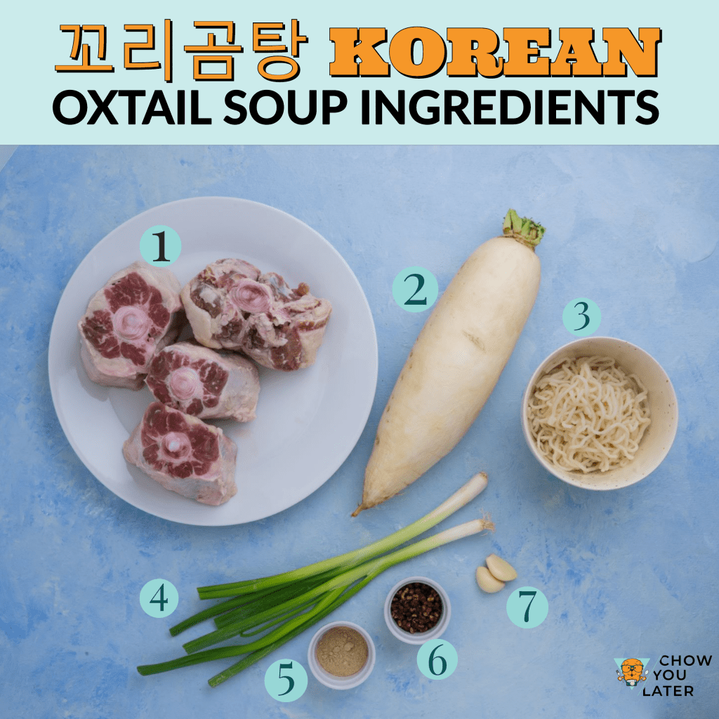 Oxtail Soup ingredients spread out on flat blue surface