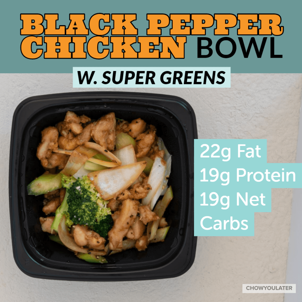 keto black pepper chicken bowl with super green on white background