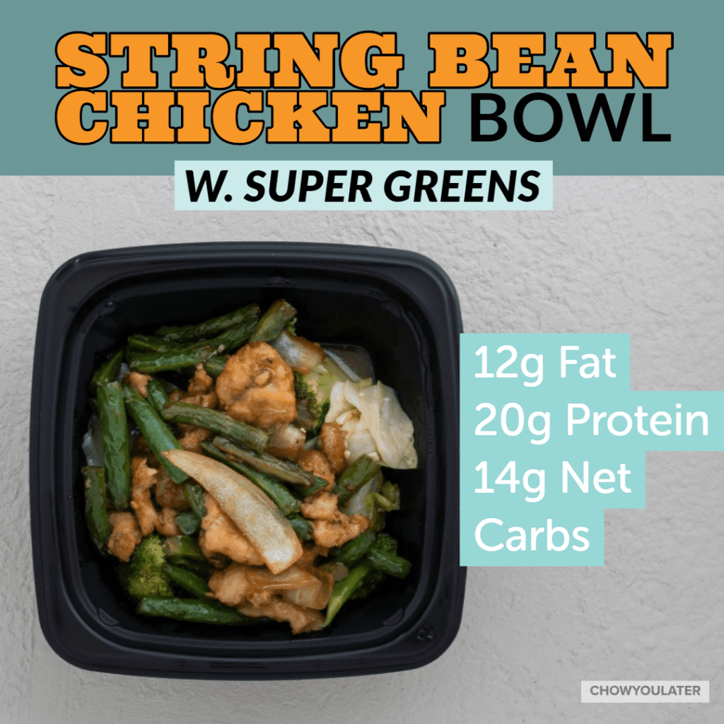 keto string bean chicken bowl with super greens on white background