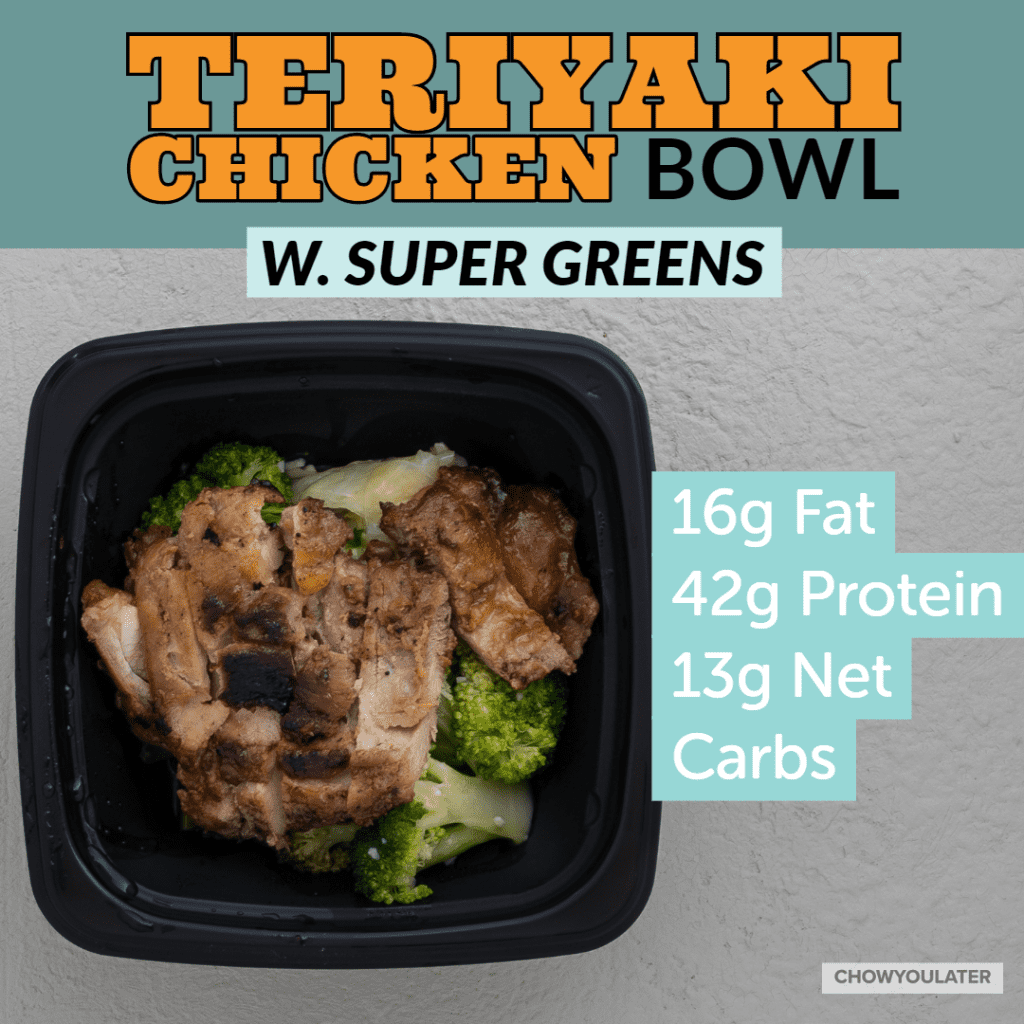 Keto Teriyaki Chicken Bowl with greens on white background