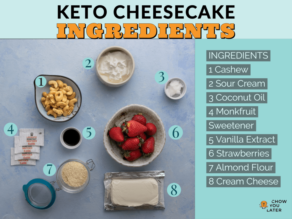 Ingredients of keto cheesecake laid out on light blue surface