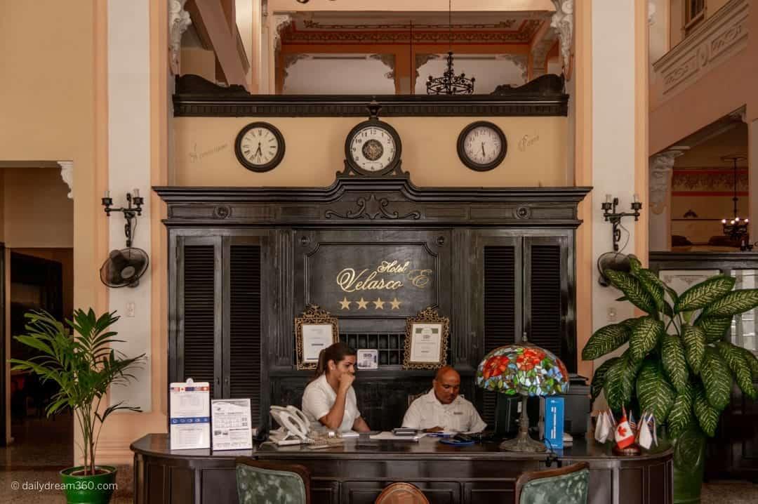 Hotel E Velasco reception Matanzas Cuba