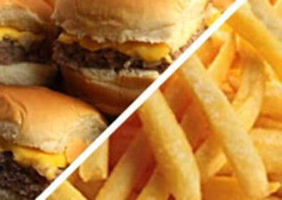 Several cheeseburgers and french fries