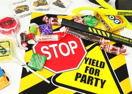 Signs, candy and other party items
