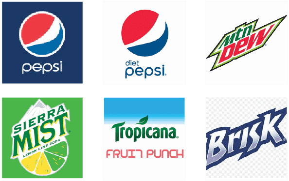 Logos of soft drink brands