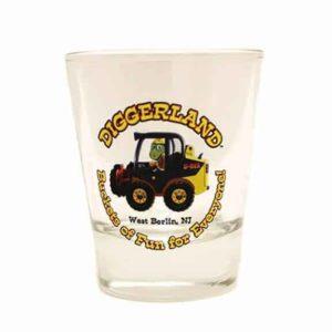 Diggerland shot glasse front with logo