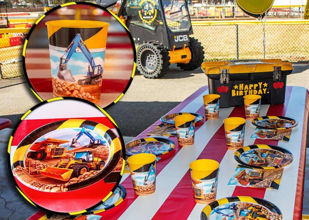 Construction theme balloons, napkins, toolbox and cups