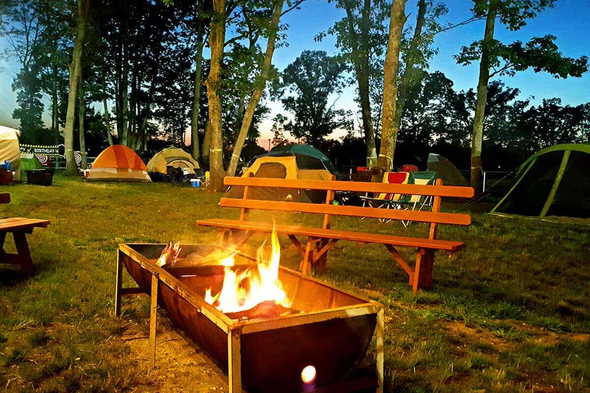 Camp fire at night during Diggerlands camp out