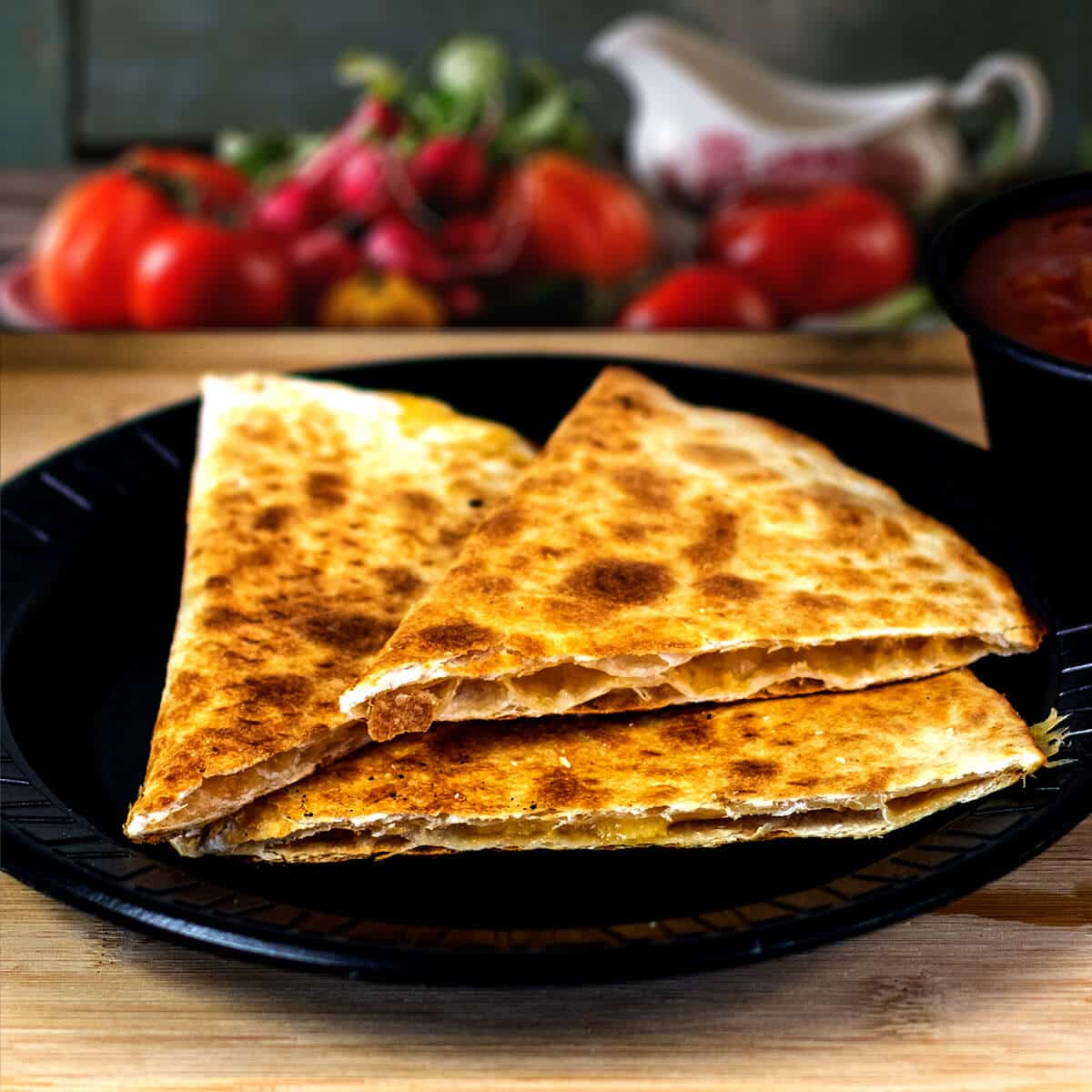 Cheese quesadillas with salsa
