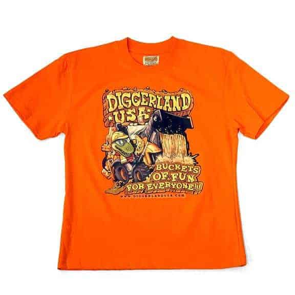 Diggerland orange t-shirt D-Rex digging in backhoe
