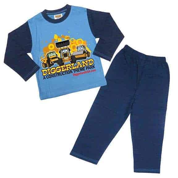 Diggerland toy trucks pajamas blue shirt and pants