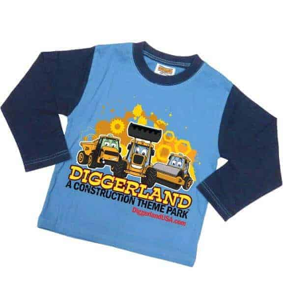 Diggerland toy trucks pajamas blue shirt