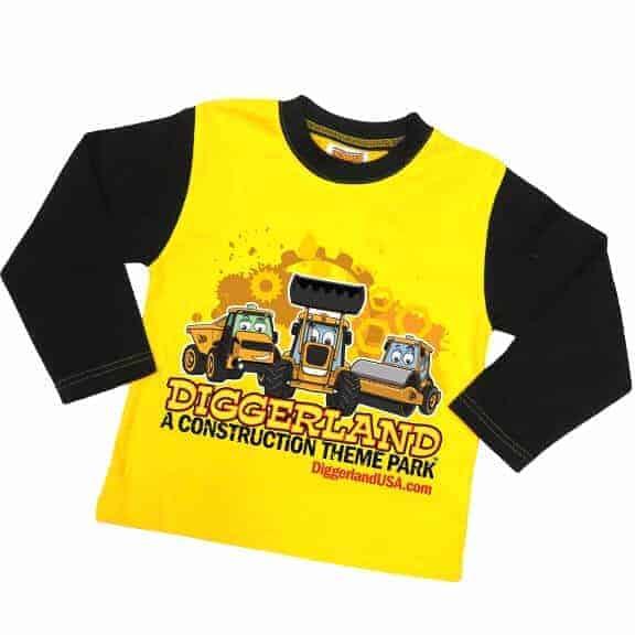 Diggerland toy trucks pajamas yellow shirt