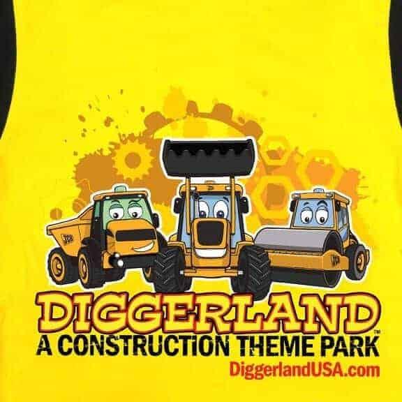 Diggerland toy trucks pajamas yellow closeup