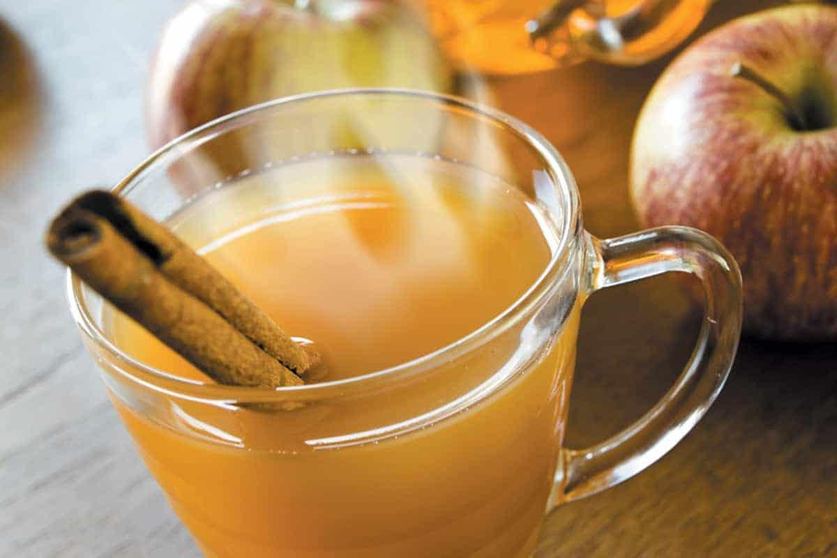 Apple cider treat steaming hot apples