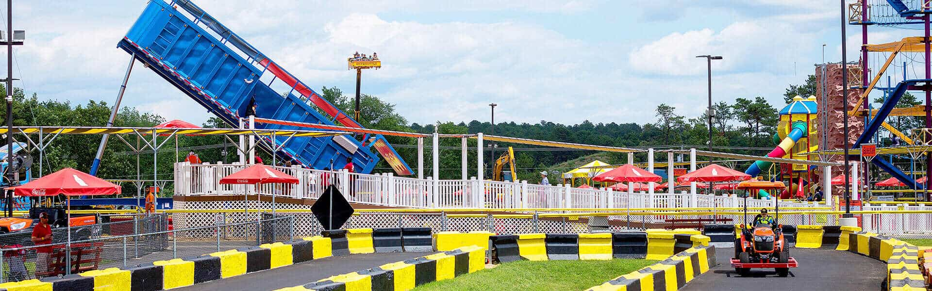 Diggerland overview Greased Beast tractor food fun