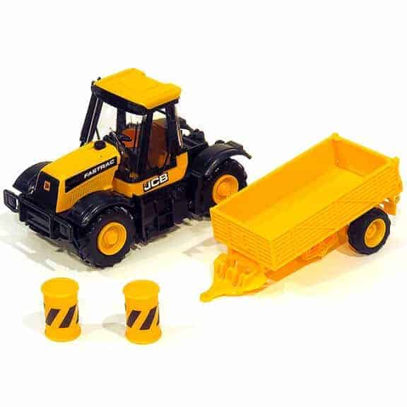 JCB tractor construction series with trailer each piece