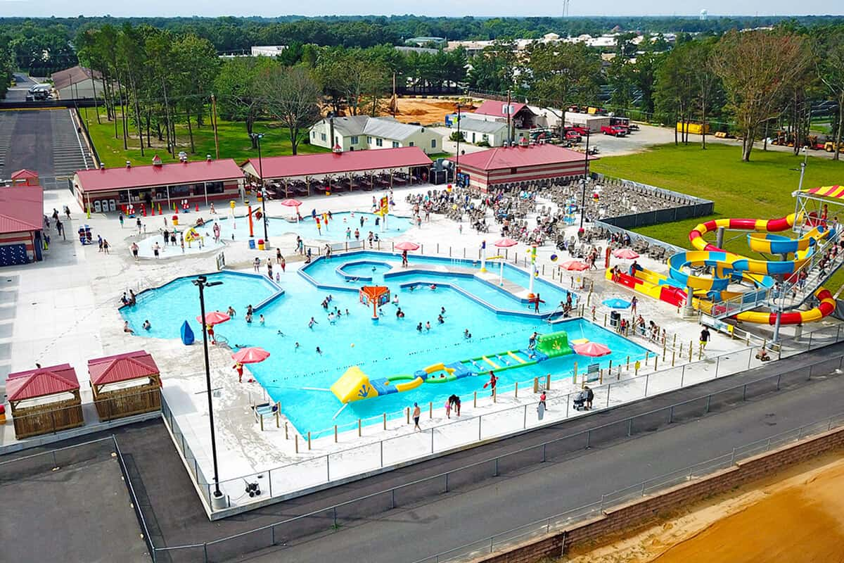 Overhead view of entire water park features