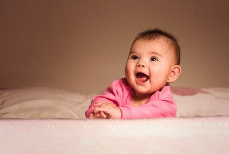 Happy baby during tummy time